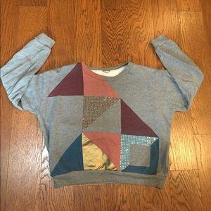 J.Crew Abstract Cropped Sweatshirt, size Medium.